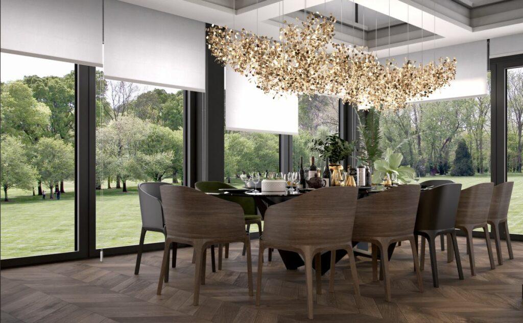 architektura Design Meble  Czerń, drewno i złoto. Projekt domu dla pięcioosobowej rodziny